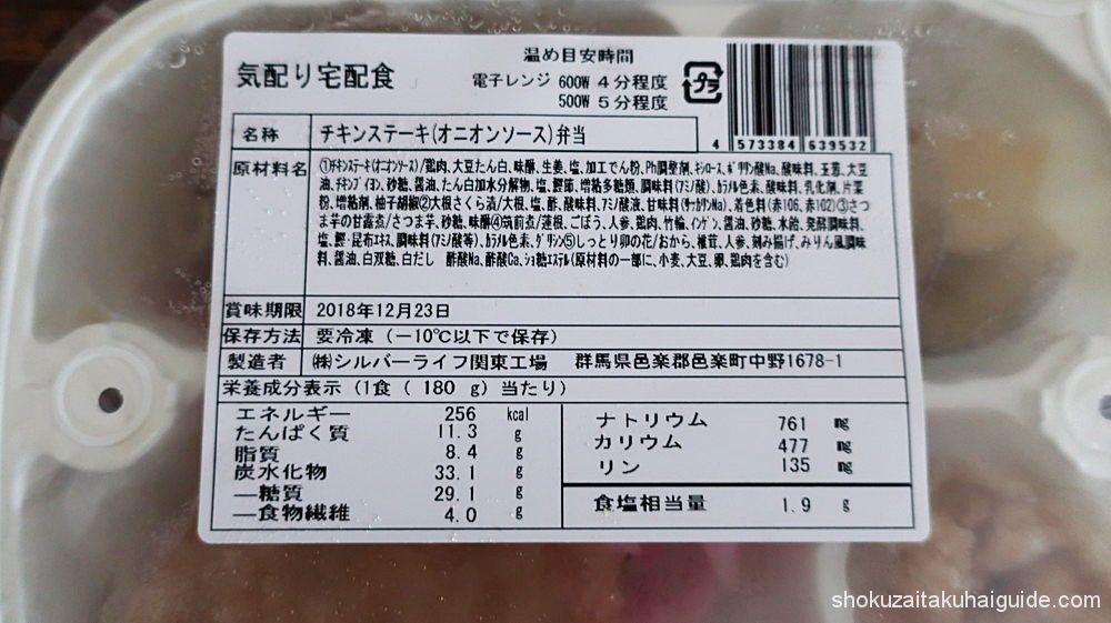 原材料名、賞味期限、栄養成分